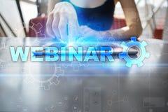 Webinar Nauczanie online, online edukaci pojęcie rozwoju ogłoszenie towarzyskie obraz stock