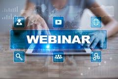 Webinar Nauczanie online, online edukaci pojęcie rozwoju ogłoszenie towarzyskie zdjęcia stock