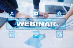 Webinar Nauczanie online, online edukaci pojęcie rozwoju ogłoszenie towarzyskie obraz royalty free