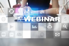 Webinar Nauczanie online, online edukaci pojęcie rozwoju ogłoszenie towarzyskie obrazy stock