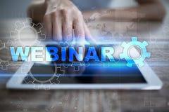 Webinar Nauczanie online, online edukaci pojęcie rozwoju ogłoszenie towarzyskie parawanowy wirtualny obrazy royalty free