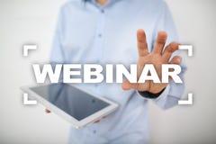 Webinar Nauczanie online, online edukaci pojęcie rozwoju ogłoszenie towarzyskie parawanowy wirtualny fotografia royalty free