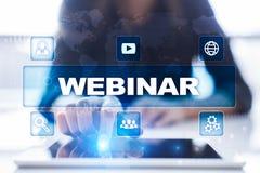 Webinar Nauczanie online, online edukaci pojęcie rozwoju ogłoszenie towarzyskie parawanowy wirtualny zdjęcie stock