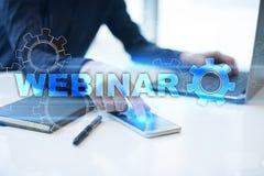 Webinar Nauczanie online, online edukaci pojęcie rozwoju ogłoszenie towarzyskie parawanowy wirtualny zdjęcie royalty free