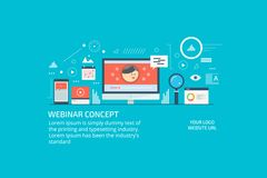 Webinar,online consulting, live video, tutorial, conference, digital media concept. Flat design vector banner. royalty free illustration