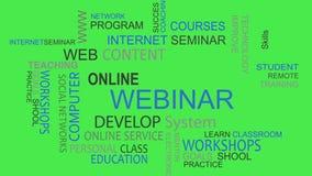 Webinar online develop solutions word tag cloud. Webinar online develop solutions word tag best cloud animation stock illustration
