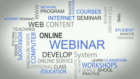 Webinar online develop solutions word tag cloud. Webinar online develop solutions word tag best cloud animation vector illustration
