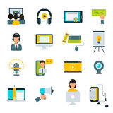 Webinar online education flat icons vector set. Stock Photography