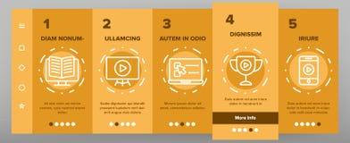 Webinar, Online Education Vector Onboarding. Mobile App Page Screen. Webinar, Conference, Distance Learning Outline Symbols Pack. Internet Courses, Lessons. E royalty free illustration