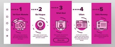 Webinar, Online Education Vector Onboarding. Mobile App Page Screen. Webinar, Conference, Distance Learning Outline Symbols Pack. Internet Courses, Lessons. E stock illustration