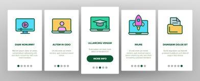 Webinar, Online Education Vector Onboarding. Mobile App Page Screen. Webinar, Conference, Distance Learning Outline Symbols Pack. Internet Courses, Lessons. E vector illustration