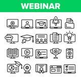 Webinar, Online edukacji Wektorowe Liniowe ikony Ustawia? ilustracja wektor