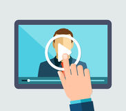 Webinar, online het leren, lezingen en opleiding royalty-vrije stock foto