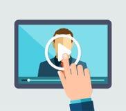 Webinar, online lernen, Vorträge und ausbilden Lizenzfreies Stockfoto
