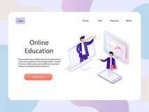 Webinar online Pagina isometrica del landidng di istruzione Illustrazione di vettore di tecnologia Immagine Stock Libera da Diritti