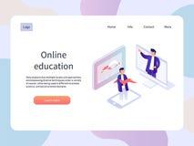 Webinar online Pagina isometrica del landidng di istruzione Illustrazione di vettore di tecnologia Immagine Stock