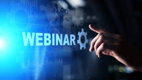 Webinar, Online szkolenie, pojęcie na wirtualnym ekranie, edukacji i nauczania online obraz royalty free