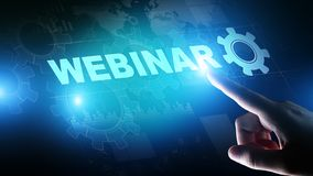 Webinar, Online training, Education and E-learning concept on virtual screen. royalty free stock images