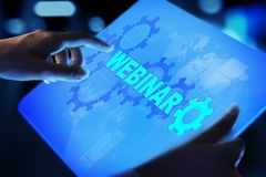 Webinar, Online training, Education and E-learning concept on virtual screen. royalty free stock photo