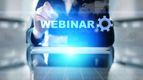 Webinar, Online training, Education and E-learning concept on virtual screen. stock photo