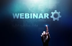 Webinar, Online training, Education and E-learning concept on virtual screen. royalty free stock photos