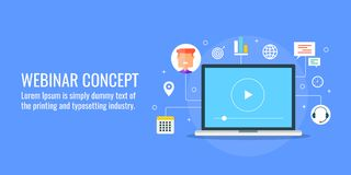Webinar, online training, learning, tutorial, business strategy, education, consulting, video conference concept. Webinar concept, web seminar on a laptop stock illustration