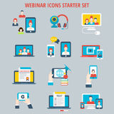 Webinar online web course education video icon set. Webinar online web course education video connection interactive service mobile app application icon set royalty free stock photos