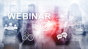 Webinar, Personal development and e-learning concept on blurred abstract background. stock images