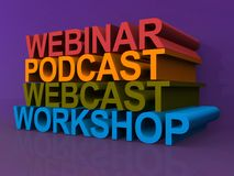 Webinar podcast webcast and workshop Stock Images