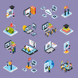 Webinar Podcasting Icons Set. Webinar podcasting isometric icons set with laptop and people isolated vector illustration Stock Photography