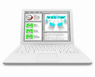 Webinar Screen on White Laptop Computer Stock Photos