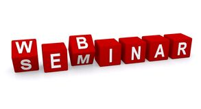 Webinar and seminar. The words ' webinar ' and ' seminar ' cleverly spelled out in white upper case letters on a row of red cubes isolated on white background Stock Photo