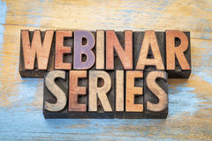 Webinar series word abstract in wood type Stock Photo