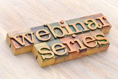 Webinar series word abstract in wood type Stock Images