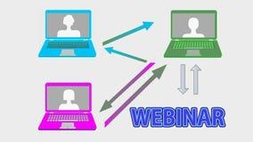 Webinar sztandaru animacja z stubarwnymi laptopami, strzała, łączy guzika i ręki kursor na kreskowym uczenie, online ilustracja wektor