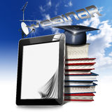 Webinar - Tablet Computer - Web-based Seminar. Black tablet computer with blank pages, antennas, stack of books, graduation hat and written Webinar on a blue sky stock illustration