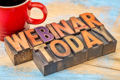 Webinar today sign in wood type Royalty Free Stock Photography