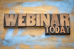 Webinar today sign in wood type Royalty Free Stock Image
