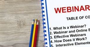 Webinar topics on a cover sheet of a lecture. Provided with copy space Royalty Free Stock Image