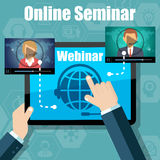 Webinar Training, Online Conference and Education using Mobile Device Royalty Free Stock Photo