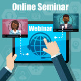 Webinar Training, Online Conference and Education using Mobile Device Stock Image