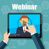 Webinar Training, Online Conference and Education using Mobile Device Royalty Free Stock Photos