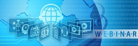 Webinar Trenuje Online edukacja sztandar Obrazy Stock