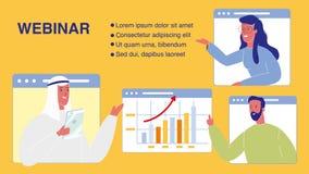 Webinar-Vektor-Netz-Fahnen-Schablone mit Text-Raum lizenzfreie abbildung