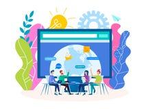 Webinar, vente sociale de médias, formations illustration de vecteur