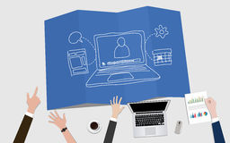 Webinar video marketing concept illustration with notebook and goals achievement Stock Photo