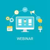 Webinar, Webcast, Livestream, on-line-Ereignis-Illustration Lizenzfreie Stockbilder