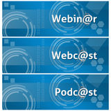 Webinar Webcast Podcast Business Theme Background. A set of techy style business style background with Webinar, Webcast, Podcast text on it royalty free illustration