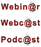 Webinar Webcast and Podcast in Red. Webinar, Webcast and Podcast text in red stock illustration