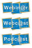 Webinar Webcast Podcast Technical Squares. Webinar webcast podcast text written over blue technical background royalty free illustration